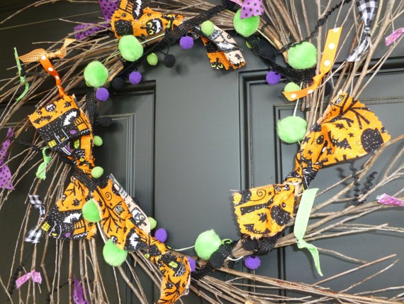 spookyshabby primitive country halloween grapevine by mrwisblessed, $15.00