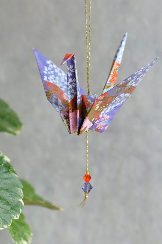 Origami Crane Hanging Ornament lavender by EastWindDesigns
