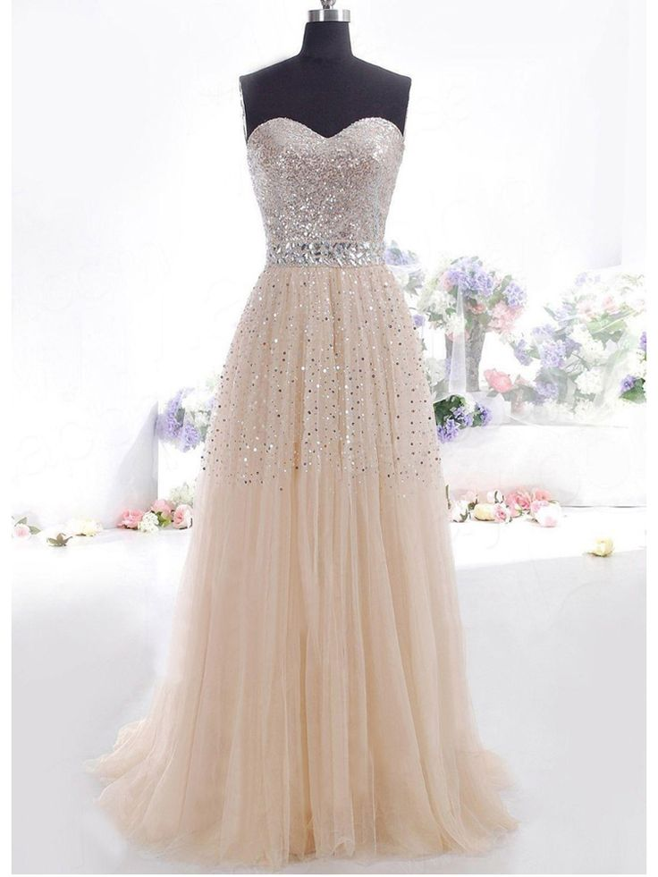 Long Corset Back Sequined & Crystal Applique Prom Bridesmaid Evening Party Dress, Champagne | SovaBridal.com