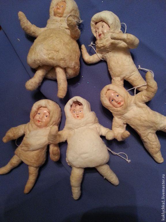 Новый год 2015 ручной работы. Ярмарка Мастеров - ручная работа Ватная елочная игрушка. Handmade. Ватные елочные игрушки. Лицо полимерная глина. Роспись лица акрилом. При изготовлении игрушки использовался крахмал. Размеры: 10-12 см