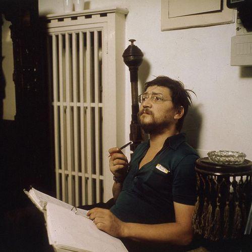Rainer Werner Fassbinder on set.