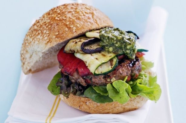 No one will believe that these Mediterranean vegetable and beef burgers are low in calories! Load them with zucchini, chargrilled capsicum and a dollop of chunky dip for maximum impact.