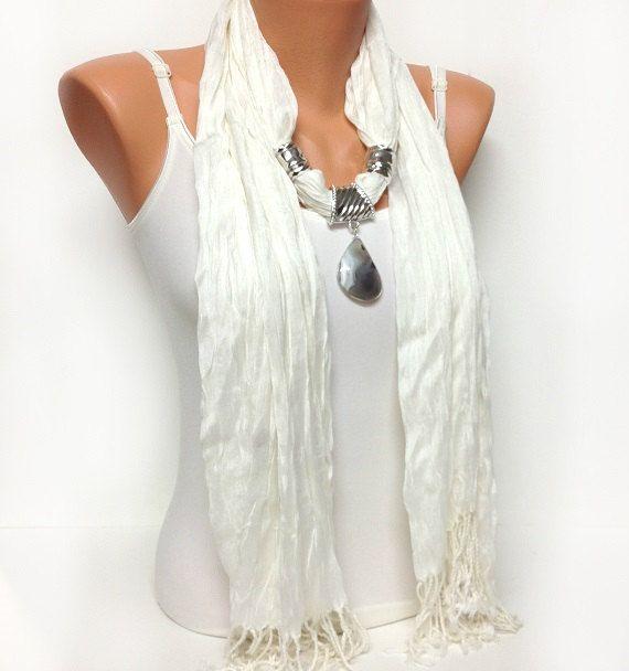 white jewelry scarf