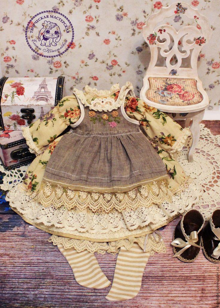 Купить Одежда для кукол. Комплект одежды, бохо, шебби шик - коричневый, одежда для кукол, одежда
