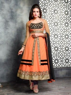 Peach Georgette Anarkali Suit with Embroidery Work