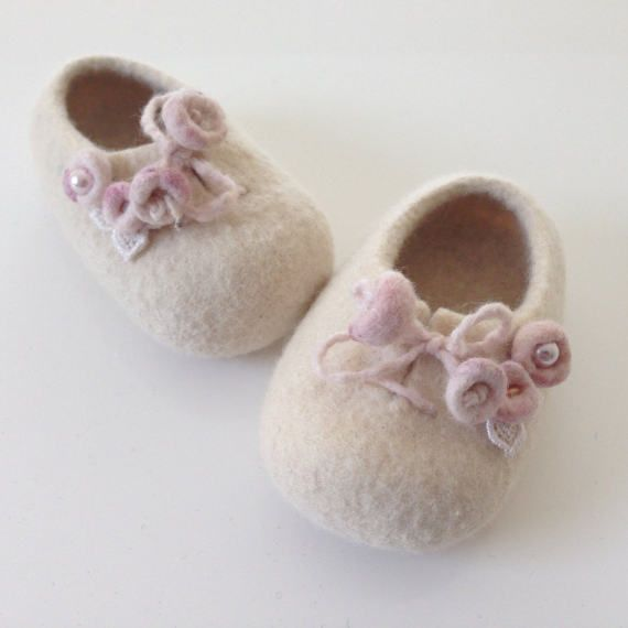 Felt baby shoes baby photography