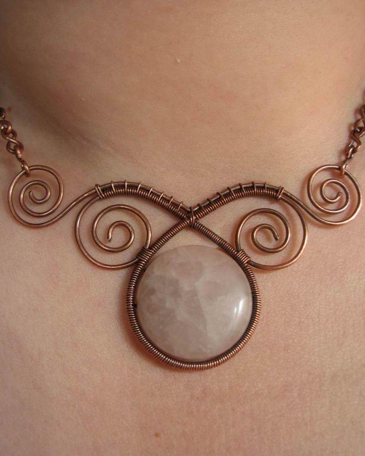 Elegant Necklace (Copper Wire and Rose Quartz)