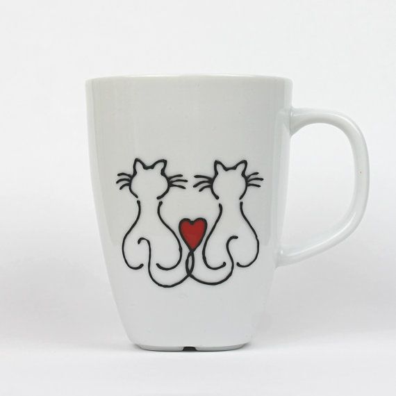 Hand Painted Porcelain Cup Love cats Design Coffee by witchcorner, £12.00