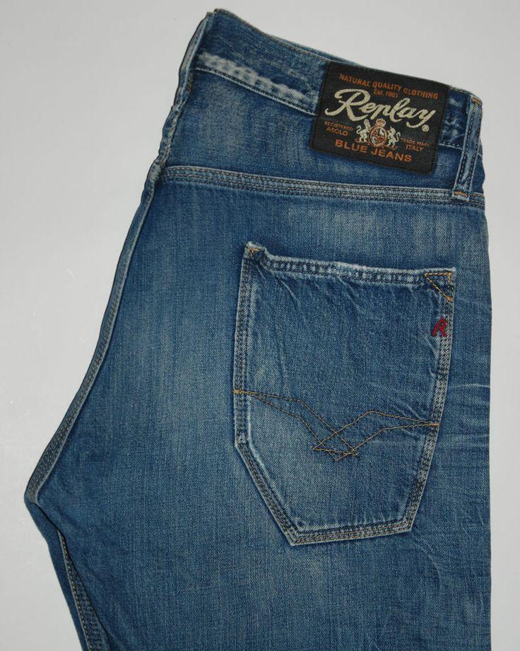 REPLAY JEANS BIYLAN WV922 034 STRAIGHT LEG BLUE FADED W32 L34