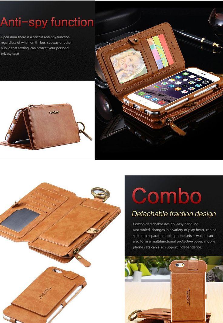 Floveme Retro PU Leather Detachable Zipper Wallet Case For iPhone 6 Plus 6S Plus 5.5