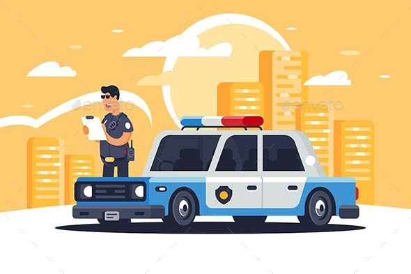 Urban Modern Sedan Police Car With Policeman With Images