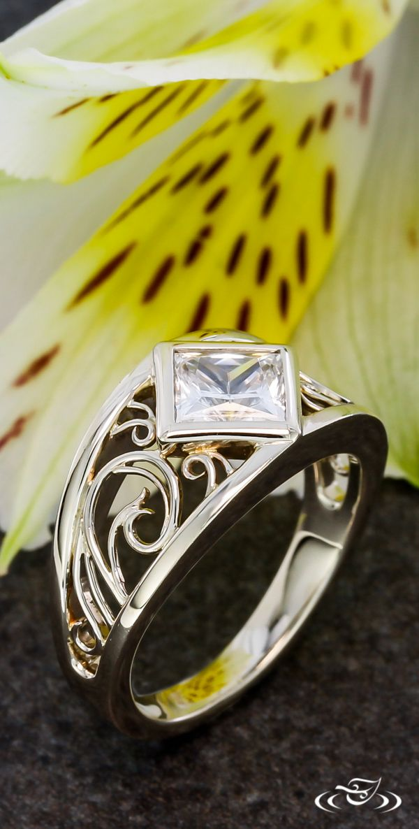 Tapered Filigree Princess Cut Engagement Ring. Green Lake Jewelry.