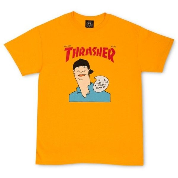 Thrasher Magazine Shop - Hey Do I Look Like A Street Skater Thrasher... ❤ liked on Polyvore featuring tops, t-shirts, cotton t shirt, orange tee, cotton tee, skate tees and orange t shirt