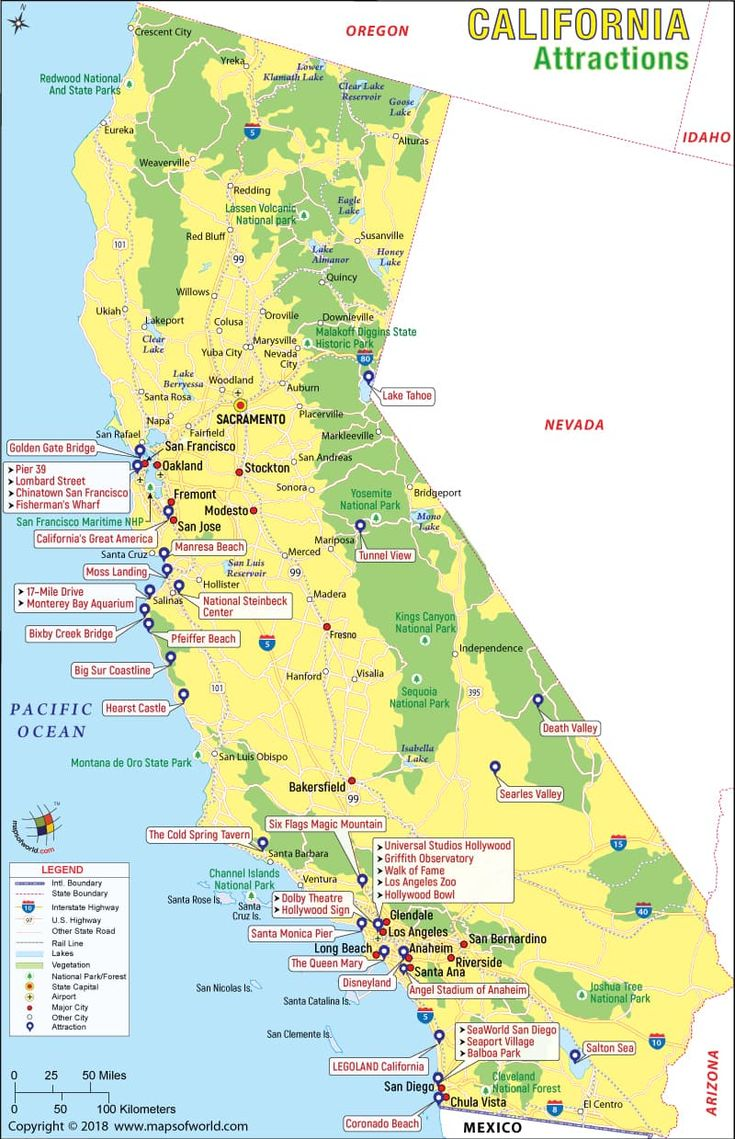california attractions map travel things places visit maps states tourism
