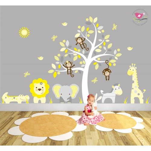 Jungle Wall Stickers Yellow And Grey Nursery Owl Animal Monkey Zoo Tree Baby  Room Part 70