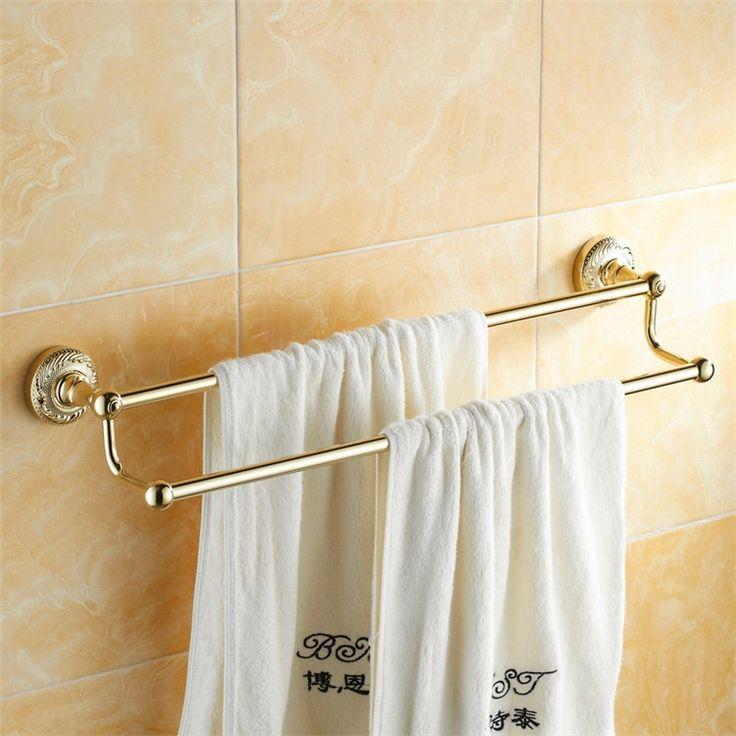 浴室タオルバー タオル掛け タオル収納 壁掛けハンガー バスアクセサリー Ti-PVD 金色 LWA122