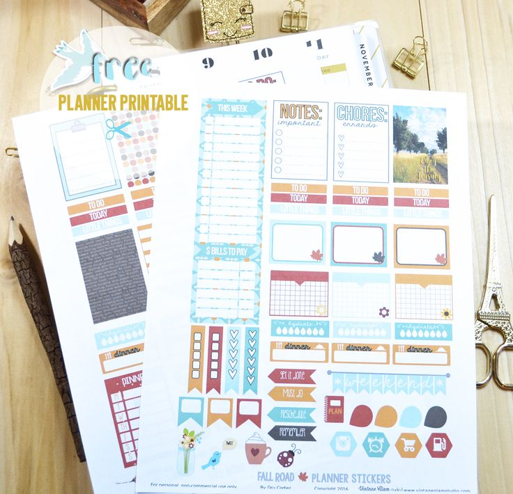 Fall Road Planner Stickers - Free printable