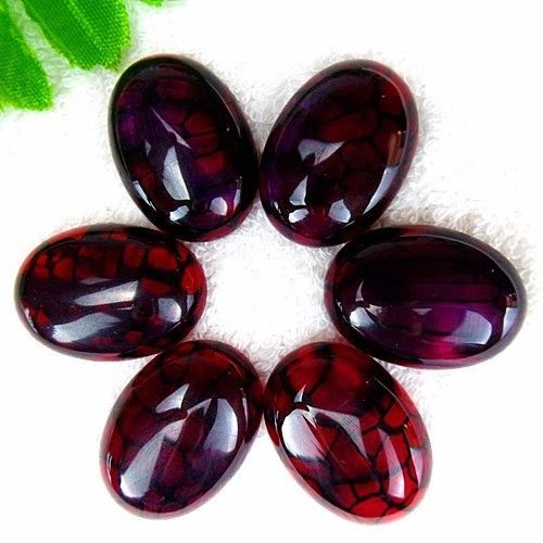 New 6Pcs Wine red and Black Dragon Veins Agate Oval Cab Cabochon 25*18*7mm AE298 #Unbranded