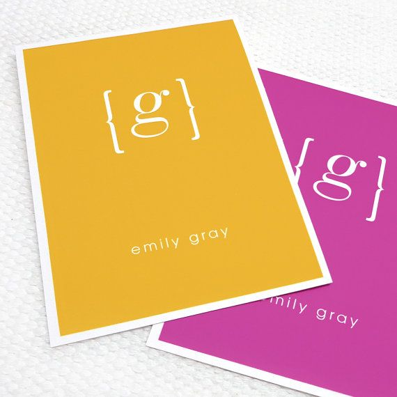 personalized stationery set note cards - your NAME your INITIAL MONOGRAM -  set of 8 -