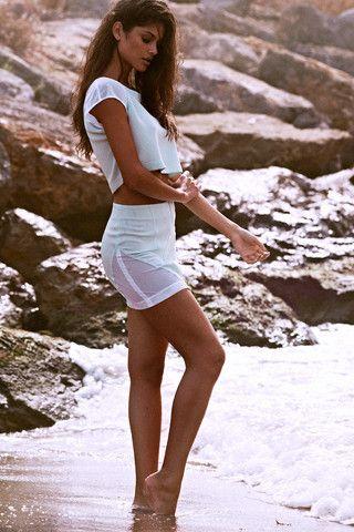 ANGELA BANG | MINT CROP TOP WITH MESH INSERT €129.00 // HIGH-WAIST MINT SKIRT WITH MESH INSERT €142.00 #angelabang #paradiseisle #mint #mesh #white #croptop #miniskirt