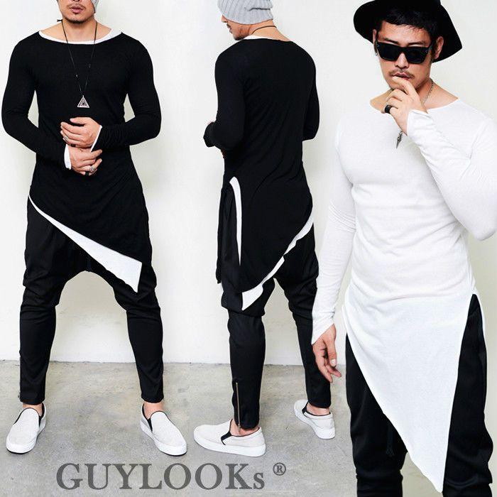Avant-garde Mod Mens Unbalance Diagonal Cut Triangle Cuff Round Long Tee  Guylook  de123a1b432