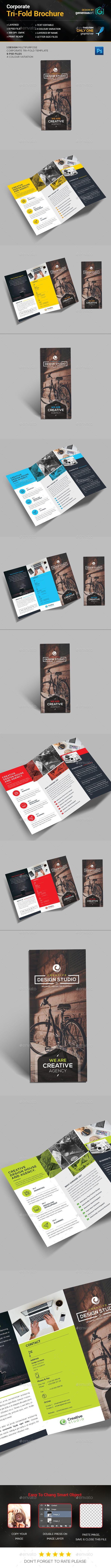 Tri-Fold Brochure Template PSD #design Download: http://graphicriver.net/item/trifold-brochure/14419718?ref=ksioks