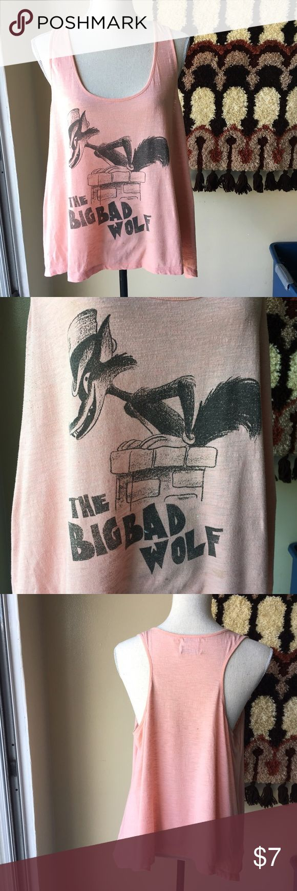 Disney for target pink big bad wolf razorback top Super sweet Disney collection for target 2012. Pink razorback shirt. Insanely soft and thin. Big bad wolf tank. Size XL. Cotton/poly. Some pilling and paint spots totally just add to the vintage tags like charm. I wore this out a few times. Just been sitting. Disney Tops Tank Tops