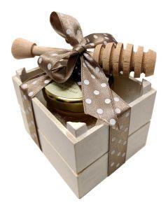 Miele e Spargimiele confezionato con cassettina in legno |Bomboniere Gastronomiche