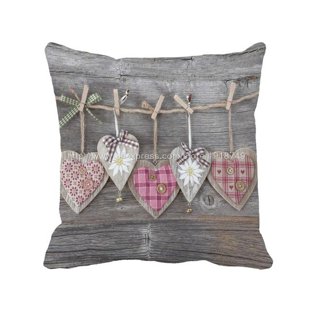 Vários símbolo do coração impresso casamento casa decorativa capas de almofada de madeira chique gasto gery throw pillow case para sofá cadeira