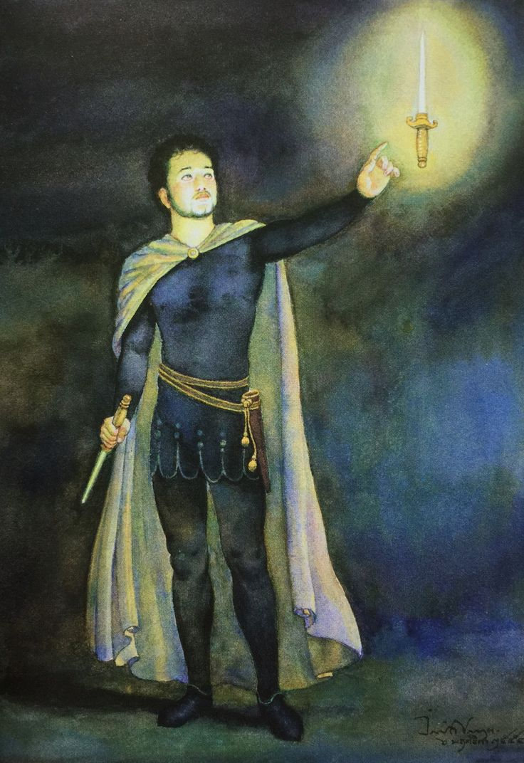 """Macbeth's vision of a bloody dagger"" from William Shakespeare's ""Macbeth"" translated into Thai by Noppamas Waewhong. Watercolor on paper, 2011, by Chakrabhand Posayakrit, a Thai national artist"