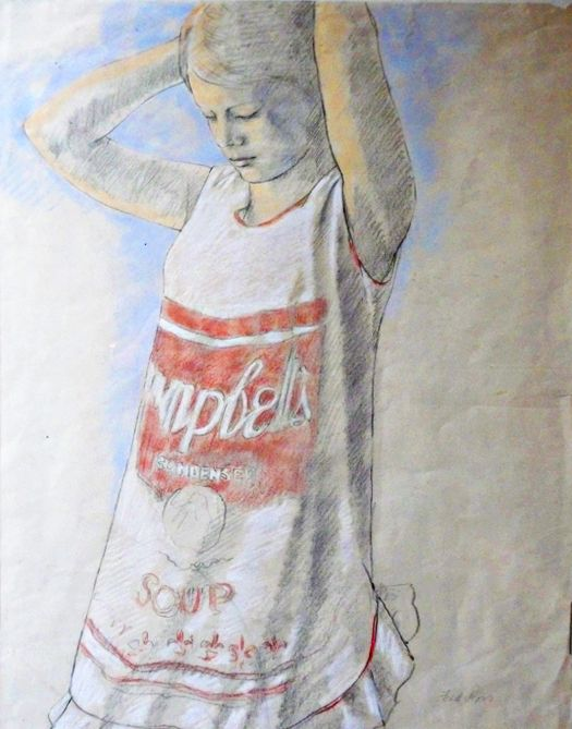 """""""Campbell Soup Dress"""" - Done in the 1970's, this figurative work playfully acknowledges pop art - the dominant artistic trend at that time.  #art #realism #portrait #Canadian art # National Gallery"""