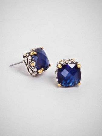 sapphire cushion cut studs - for something blue!