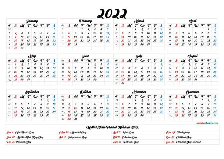 Printable 2022 Calendar with Holidays - 6 Templates in ...