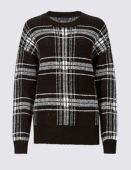 dfd1736958376b Checked Relaxed Round Neck Jumper | Sweaters and cardigans | Men sweater,  Jumper, Rounding