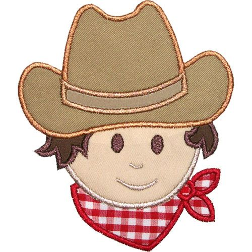Cowboy Head Applique Design