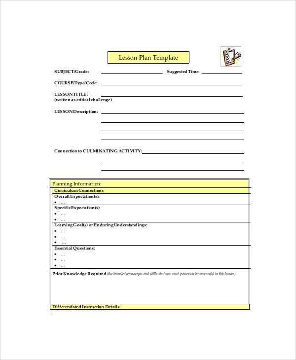 Printable Lesson Plan - 7+ Free Word, PDF Documents Download Free