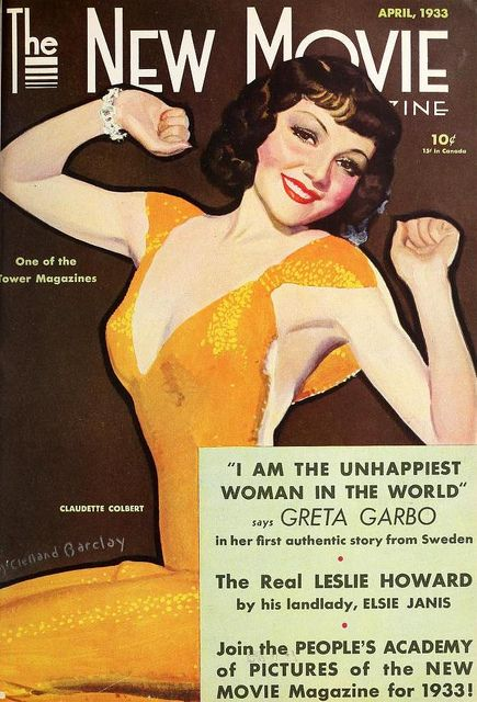 Claudette Colbert on the cover of The New Movie Magazine, April 1933, USA.