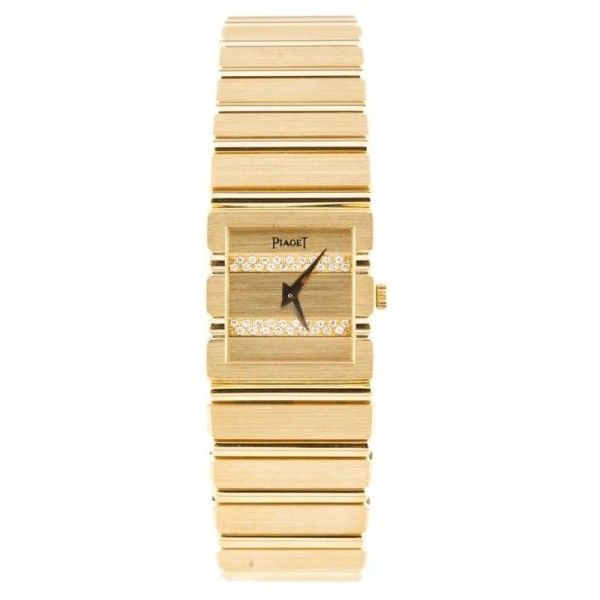 Pre-owned Piaget 18K Yellow Gold And Diamond 21mm Watch ($11,086) ❤ liked on Polyvore featuring jewelry, watches, piaget watches, diamond dial watches, pre owned watches, gold diamond watches and 18k gold watches