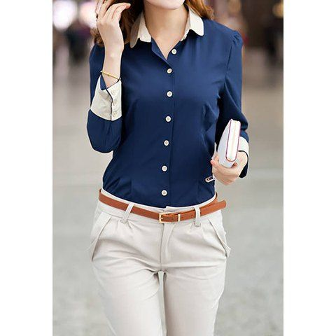 Long Sleeves Single-breasted Stitching Cuffs Ladylike Women's Formal Blouse