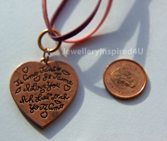 I Love YOU  Inscribed  Copper Heart Pendant by JewelleryInspired4U