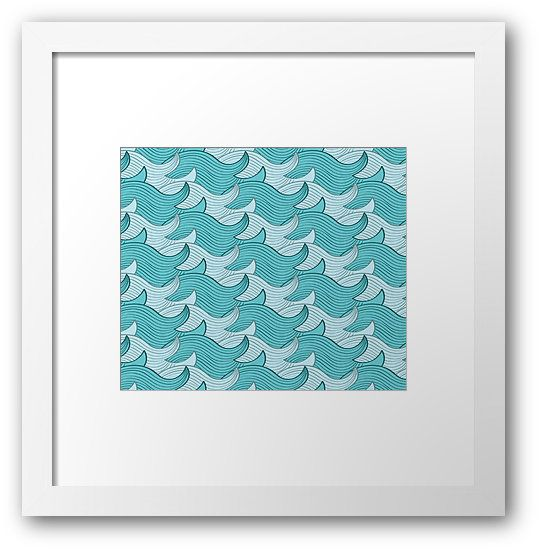 California Surf Wave Pattern Illustration by Gordon White | California Surf Bright White Framed Print Available in Small @redbubble --------------------------- #redbubble #stickers #california #losangeles #la #surf #wave #cute #adorable #pattern #frame #print #framedprint #wallart