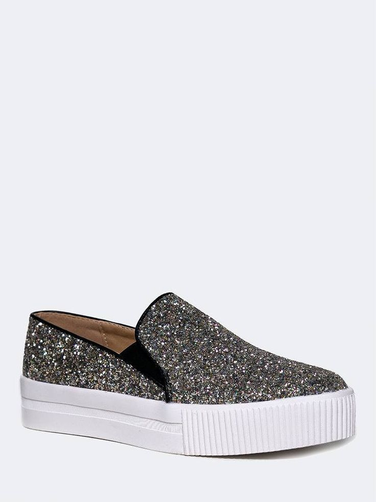 - This eye catching slip on sneaker is encrusted with glitter and it will brighten up any day! - Sparkly glitter sneakers have a ribbed platform with a round toe and elastic gore on the sides for a st
