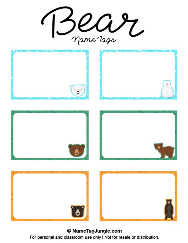 Free printable bear name tags the template can also be for Name the bear template