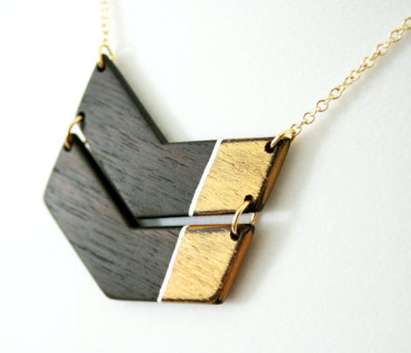Wooden Colorblock Chevron Necklace
