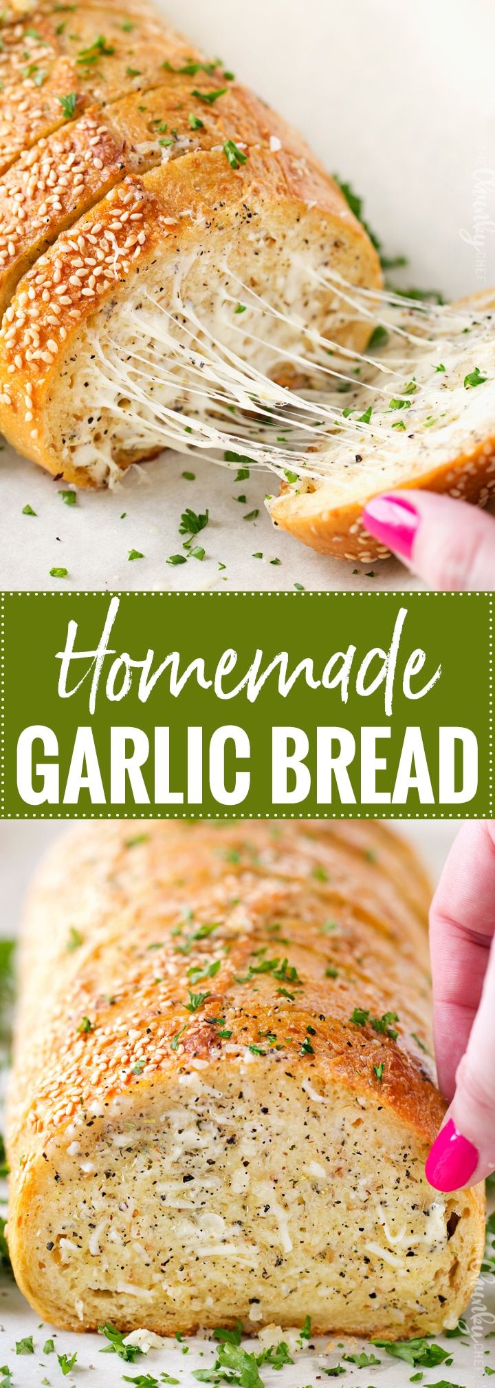 Homemade Garlic Bread | Who knew homemade garlic bread could be so easy!  Start off with your favorite bakery bread, add a mouthwatering garlic parmesan and herb spread, extra cheese if you want, and bake until warm, gooey, buttery and toasty! | http://thechunkychef.com AD  @mtnroseherbs