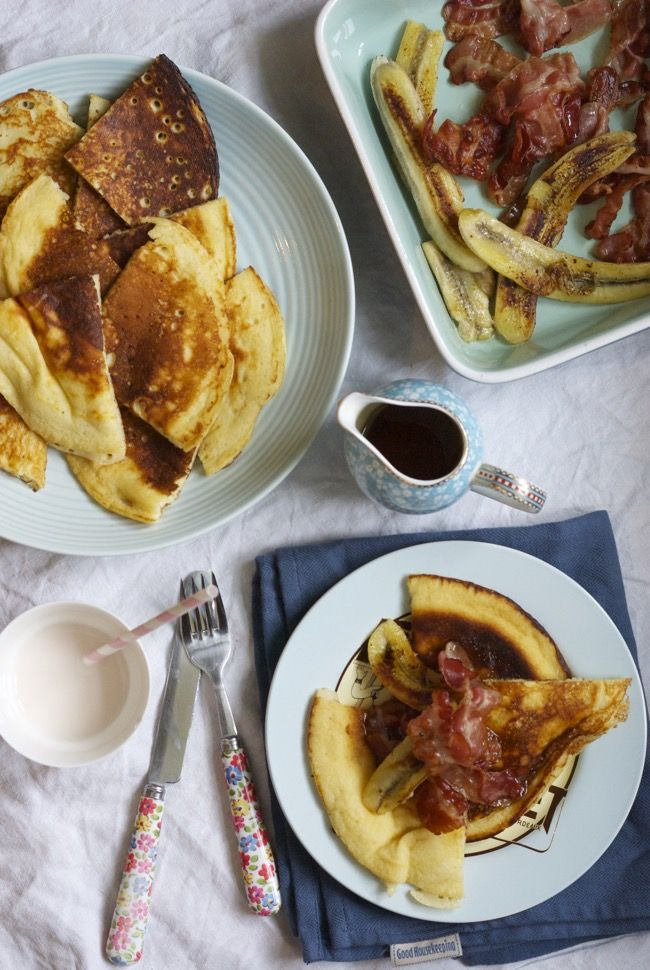 Buttermilk pancakes with fried bananas and bacon