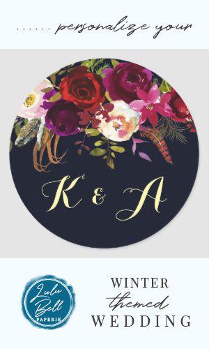 Navy Burgundy Marsala Rustic Boho Floral Monogram Classic Round Sticker | Zazzle.com