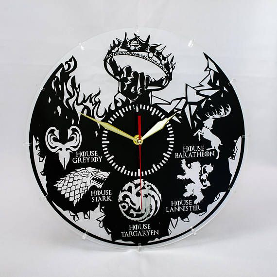 Acrylic Game of Thrones Large clock Unique wall clocks Living room design House decorating ideas Apa