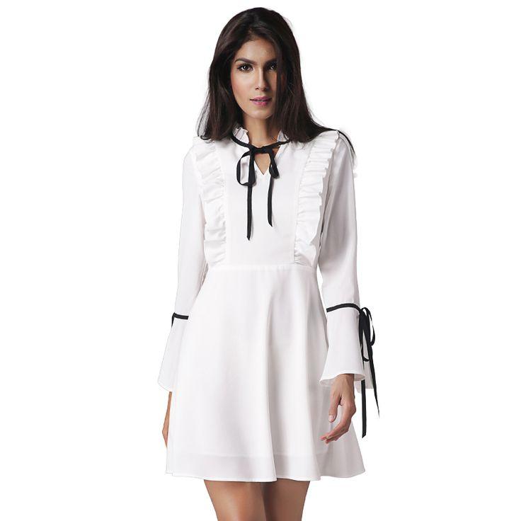 5c1c157d668 2017 Spring Women Dress V-neck Long Sleeve Short Vestidos Woman Party  Dresses A-