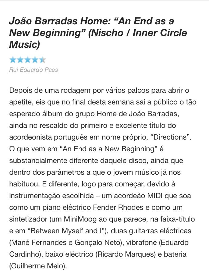 Jazz.pt review Home's new CD+DVD. Nice words from Rui Eduardo Paes.